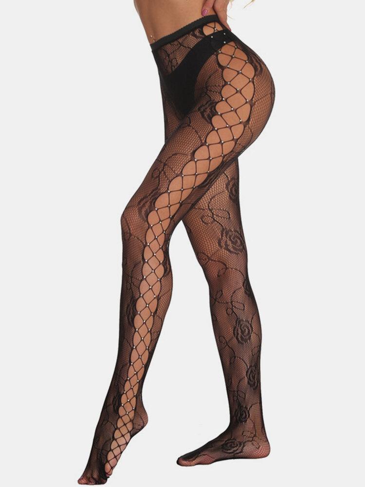 Women Fishnet Rhinestone Rose Jacquard See Through Stockings Sexy Lingerie