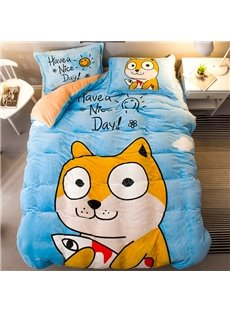 Cartoon Shiba Sky Blue Flannel 4-Piece Soft Bedding Sets/Duvet Cover