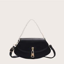Faux Pearl Handle Satchel Bag