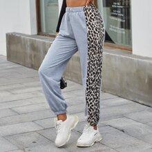Contrast Leopard Print Sweatpants
