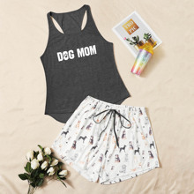 Plus Dog And Letter Graphic PJ Set