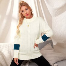 Mock Neck Contrast Panel Sweater