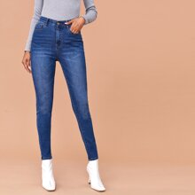 Zipper Fly Medium Wash Jeans