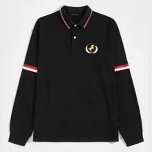 Camisa polo con estampado de dibujo ribete de rayas