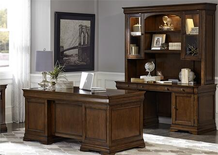 Chateau Valley Collection 901-HOJ-5JES 3-Piece Home Office Set with Jr Executive Desk  Jr Executive Credenza and Credenza Hutch in Brown Cherry