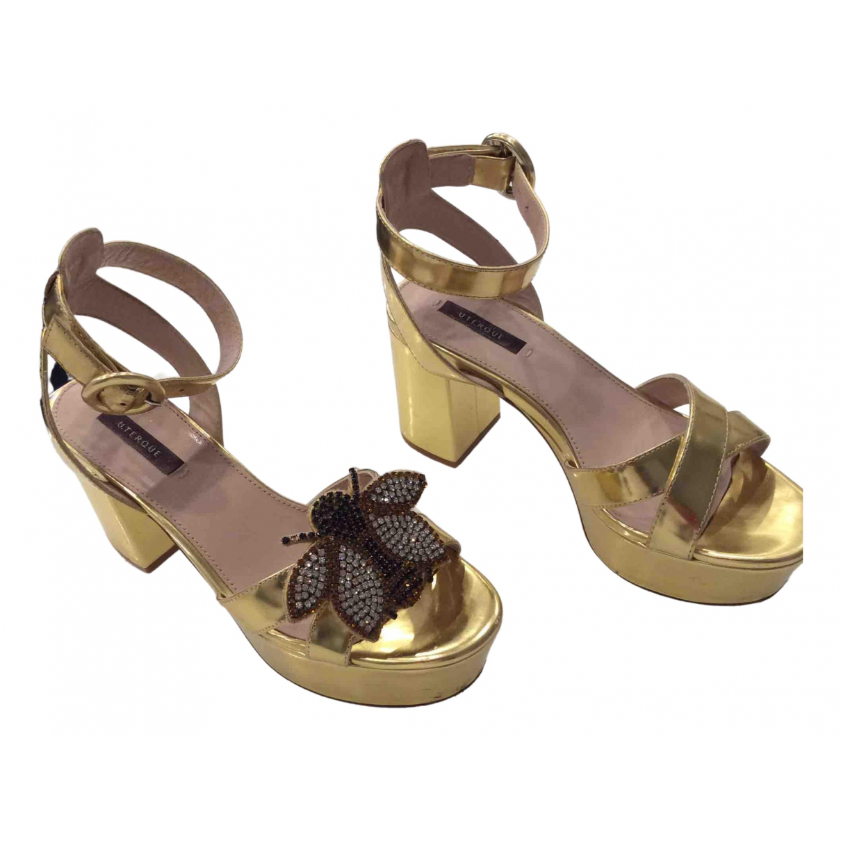 Uterque \N Gold Leather Heels for Women 37 EU