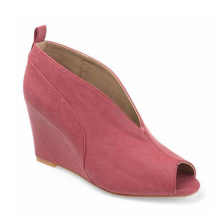 Journee Collection Womens Calista Pumps Wedge Heel, 8 1/2 Medium, Pink