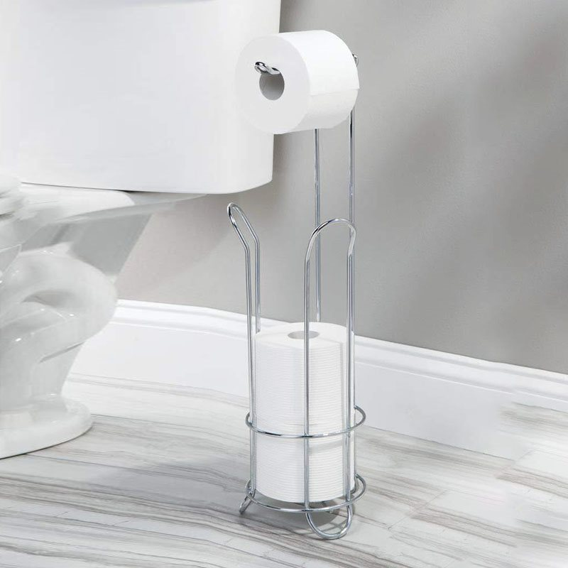 Free Standing Bathroom Toilet Paper Roll Holder with Storage for 4 Rolls of Reserve Toilet Tissue