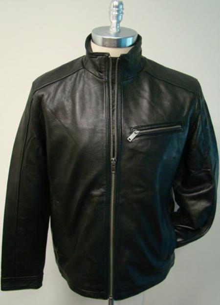Mens New Zealand LambSkin with zipper chest pocket Racing Brown Jacket