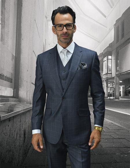 Men's Statement Plaid Grey 2 Button Single Breasted Suit