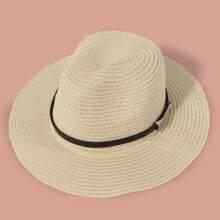 Sombrero de paja con diseño metalico