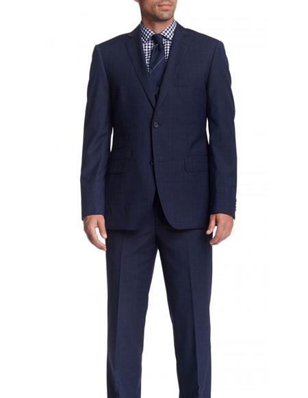 Mens 2 Button Single Breasted Wool Modern Fit Navy Blue Plaid Suit