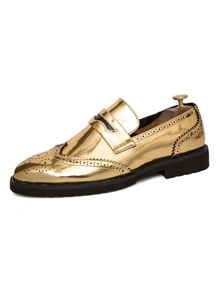 Milanoo Mens Loafers Shoes Slip-On Sequins Round Toe PU Leather Golden Black Shoes