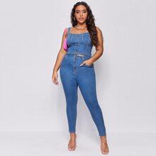 Plus Button Front Denim Top & Skinny Jeans Set