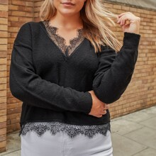 Plus Contrast Lace V-neck Solid Sweater