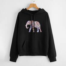 Elephant Print Hooded Sweatshirt
