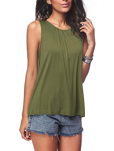 Yoins Army Green Pleated Round Neck Tank Top