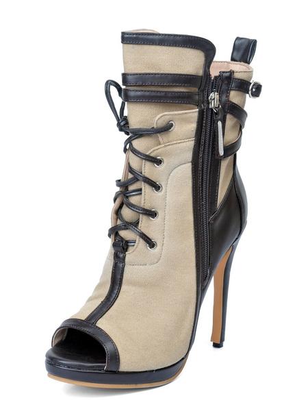 Milanoo Botines estilo moderno de lona estilo street wear para aumentar la altura de dos tonos de color albaricoque de punter Peep Toe con cordones
