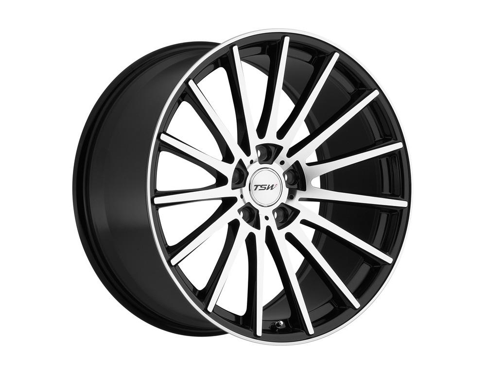 TSW Chicane Wheel 18x8.5 5x114.30 30mm Gloss Black w/ Mirror Cut Face