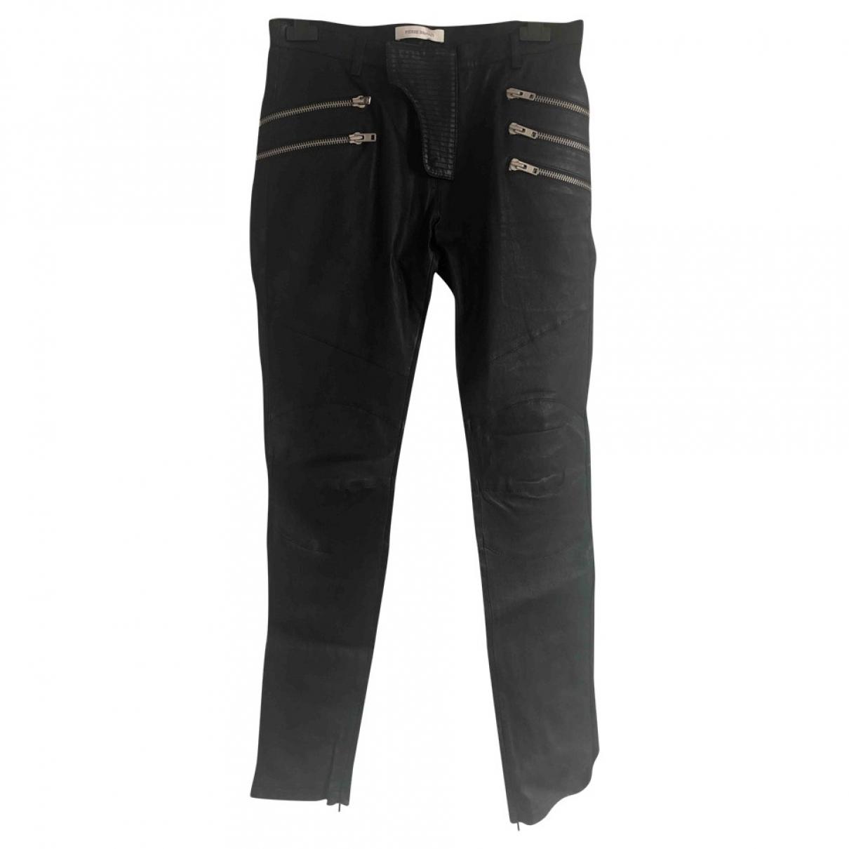 Pierre Balmain \N Black Leather Trousers for Men 48 IT
