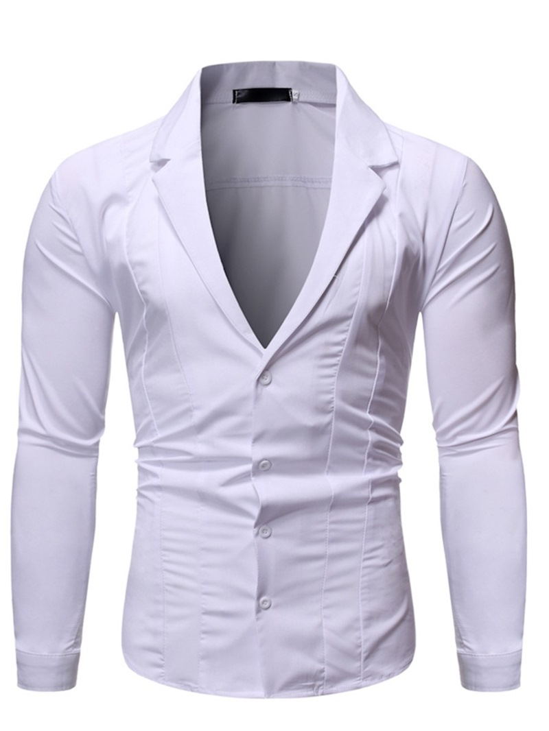 Ericdress Fashion Plain Notched Lapel Single-Breasted Mens Slim Shirt