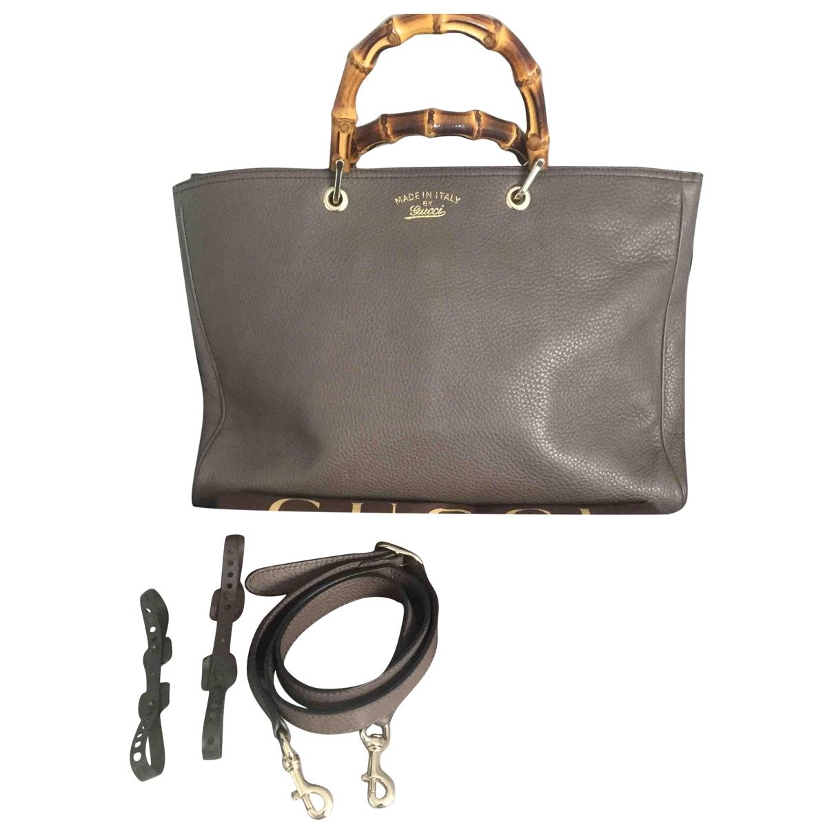 Gucci Bamboo Grey Leather handbag for Women \N