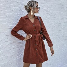 Corduroy Button Front Belted Shirt Dress