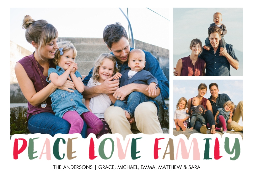 Christmas Photo Cards 5x7 Cards, Premium Cardstock 120lb with Scalloped Corners, Card & Stationery -Christmas Peace Love Family by Tumbalina