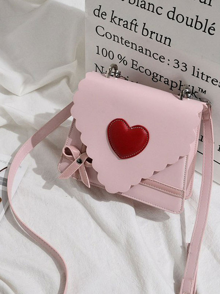 Milanoo Sweet Lolita Handbag Letter Shaped PU Leather Hearts Cross Body Bag