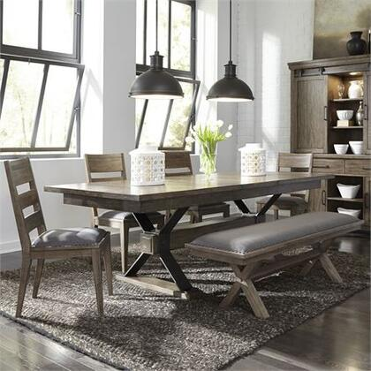 Sonoma Road Collection 473-DR-6TRS 6PC Trestle Table Set with 4x Ladder Back Side Chair  1 Bench and 1 Trestle Table in Weather Beaten Bark Finish