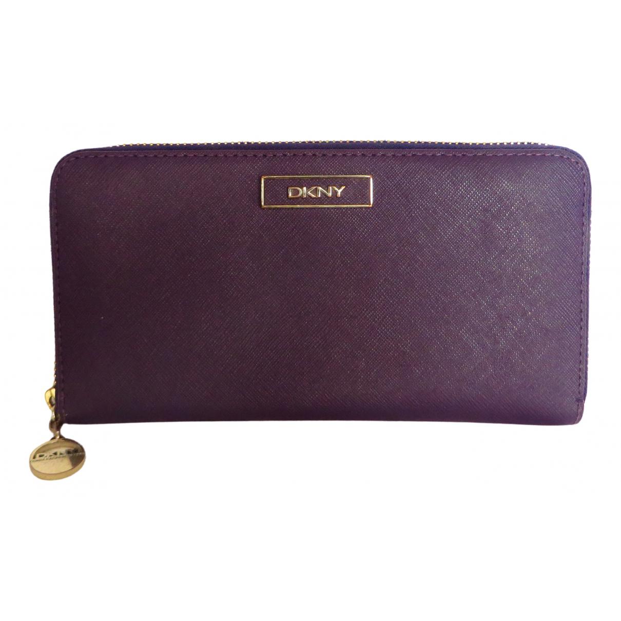 Dkny - Portefeuille   pour femme en cuir - violet