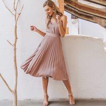 Cami Kleid mit Reissverschluss hinten und Falten am Saum