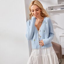Button Front Floral Embroidery Cardigan