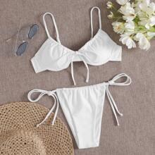 Tie Front Underwire Tie Side Bikini Swimsuit