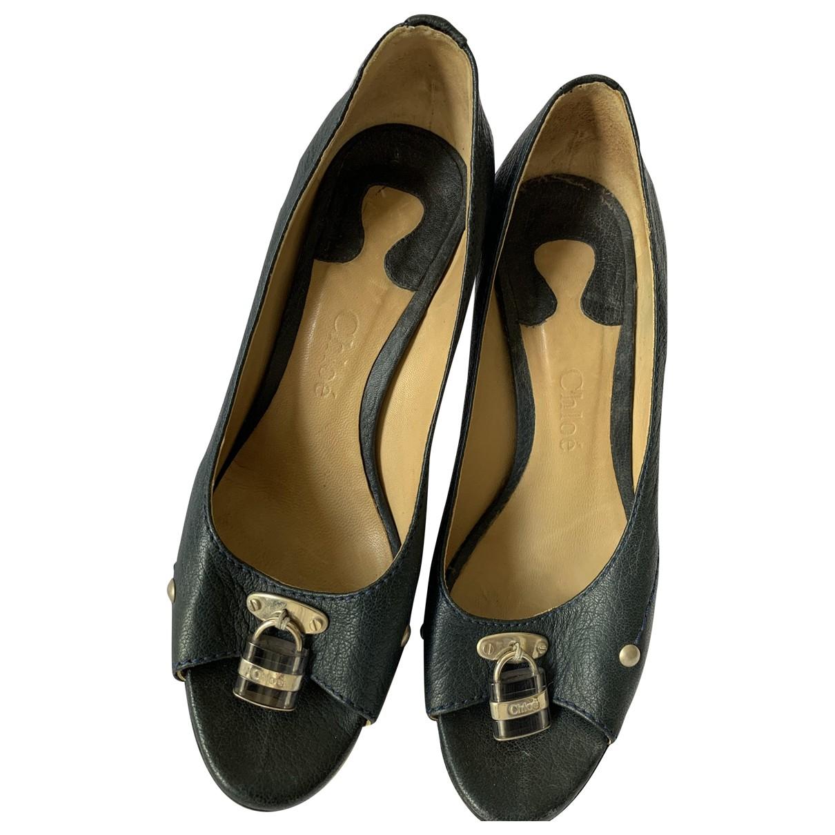 Chloé \N Navy Leather Heels for Women 37 EU