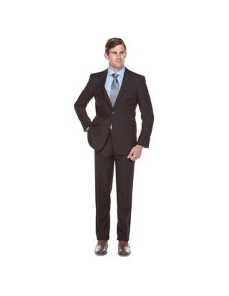 Verno De Palma Mens Single Breasted Brown Slim Fit Two-piece Suit