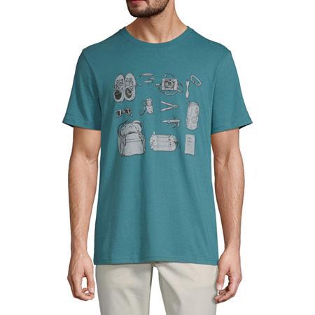 St. John's Bay Mens Crew Neck Short Sleeve Graphic T-Shirt, Xx-large , Blue