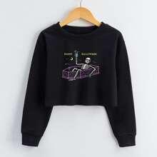 Sweatshirt mit Skelett & Buchstaben Grafik