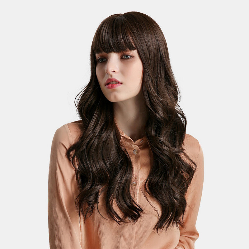 26 inch Mix Brown Long Wave Hair Wig Heat Resistant Synthetic Wig with Neat Bangs