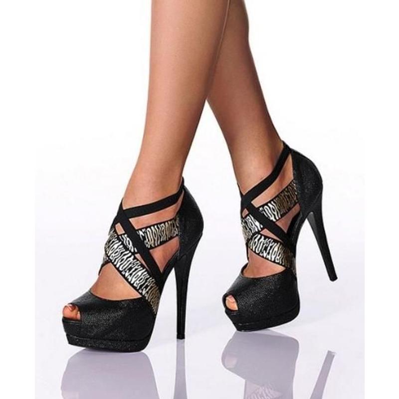 Ericdress Cross Strap Platform Peep Toe Stiletto Sandals