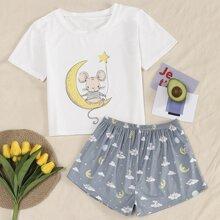 Cartoon Graphic Pajama Set