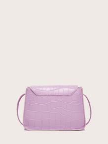 Crocodile Flap Crossbody Bag