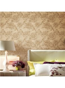 3D Flowers Pattern Printed PVC Sturdy Waterproof Eco-friendly Self-Adhesive Wall Mural