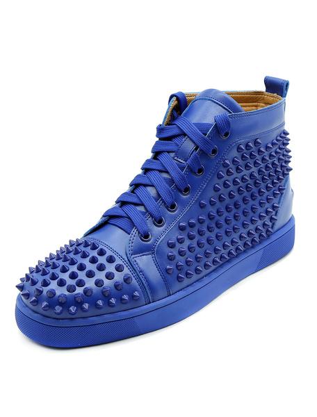 Milanoo El zapato azul del patin calza el dedo del pie redondo de los hombres del cordon ata para arriba las zapatillas de deporte superiores altas