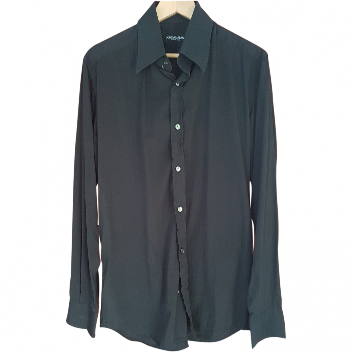 Dolce & Gabbana \N Black Cotton Shirts for Men 16.5 UK - US (tour de cou / collar)
