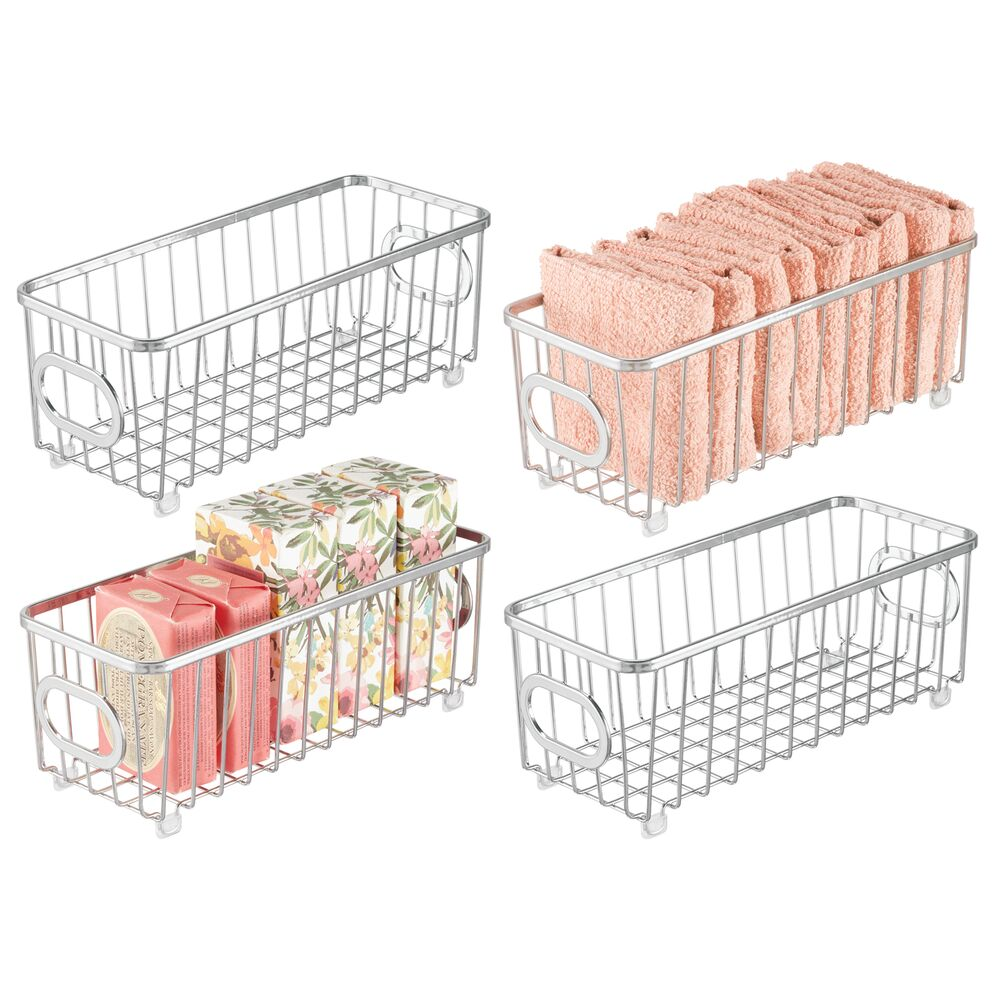 Small Metal Bathroom Storage Basket in Chrome, 10.1