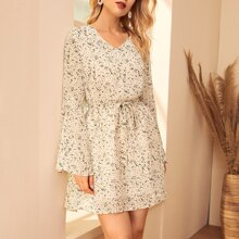 Ditsy Floral Belted A-line Chiffon Dress
