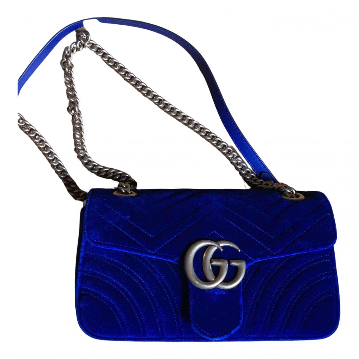 Gucci Marmont Handtasche in  Blau Samt