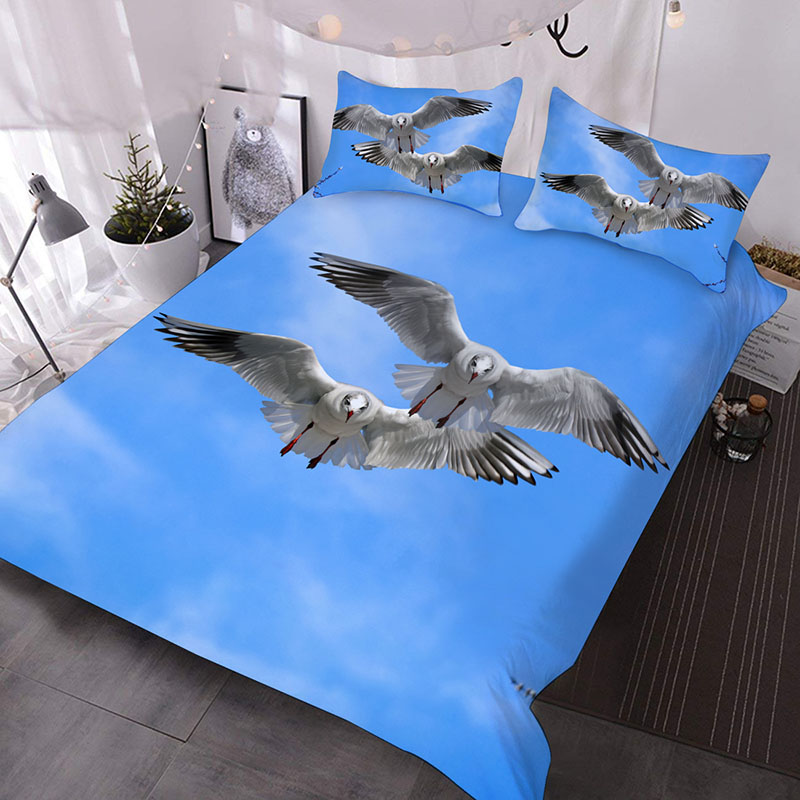 Two White Seagulls In The Blue Sky 3D Printed 3-Piece Polyester Comforter Sets
