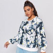 Plus Daisy Floral & Tie Dye Print Sweatshirt